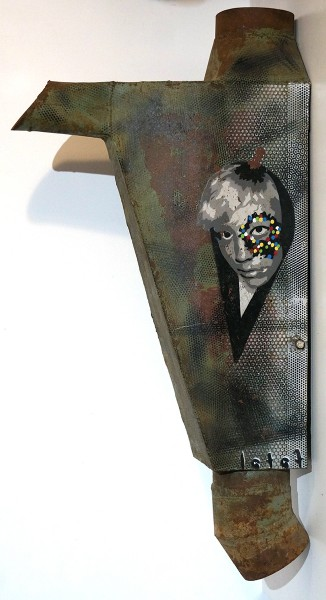 "Fatal: ""Head""  - stencil on metal - signed"