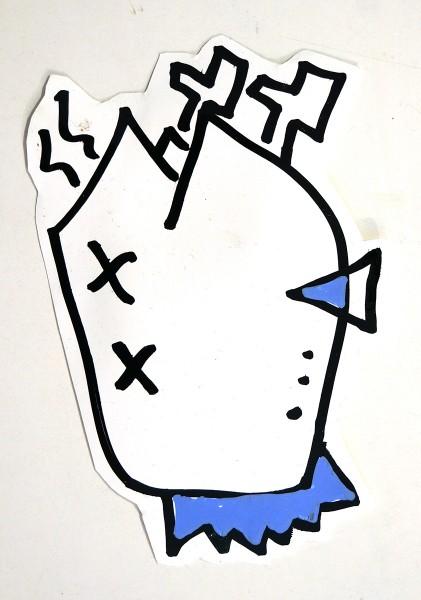 """Deelorean: """"Broiler Blue"""" - Handmade Sticker, 2018"""