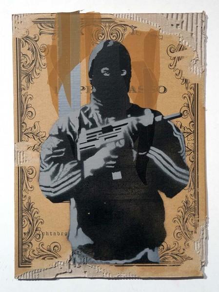 """Lchtn Brg: """"RAF I""""  - 2 layer Stencil on cardboard - salzigberlin"""