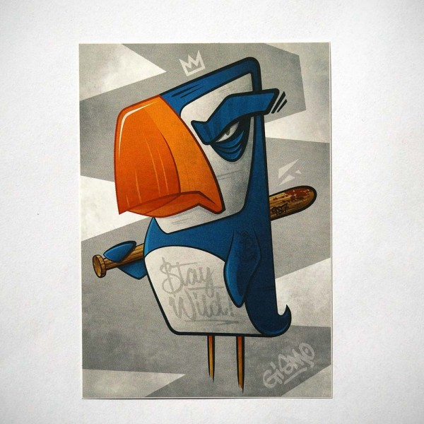 "Gismo: ""Stay Wild Parrot"" - Sticker - 10,4 x 7,3cms at SALZIG-Berlin"