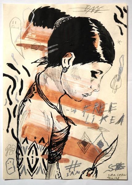 "Sam Crew aka John Reaktor: ""Woman with Leaf"" - Art de Rue - SALZIGberlin"