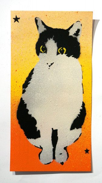 """Lembo: """"Cat 2 - DHL Sticker"""" - Stencil on a sticker from DHL"""