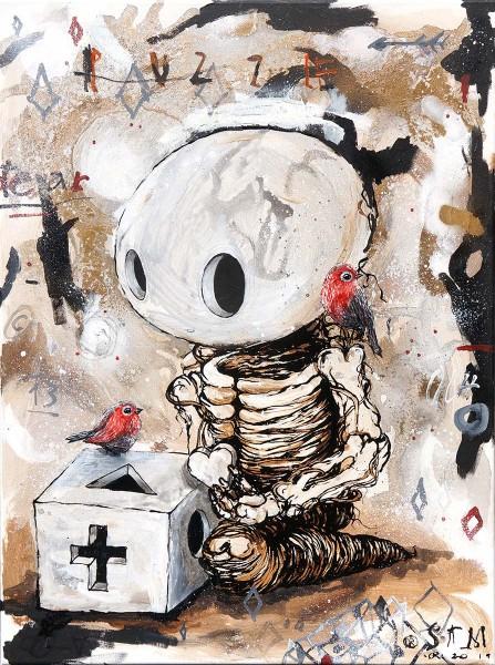 "Sam Crew aka John Reaktor: ""Puzzle"" - original canvas - salzig berlin"
