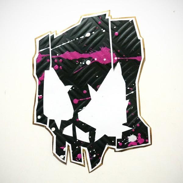 Wudywood: Black Skull - Handmade Sticker
