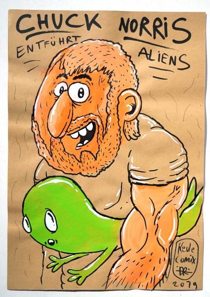 "Keule aka John Reaktor: ""Chuck Norris entführt Aliens""  - mixed media on paper - salzig"