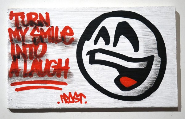 """Mein lieber Prost: """"Turn my Smile into a Laugh"""" - marker and acryl on wood at SALZIGberlin"""