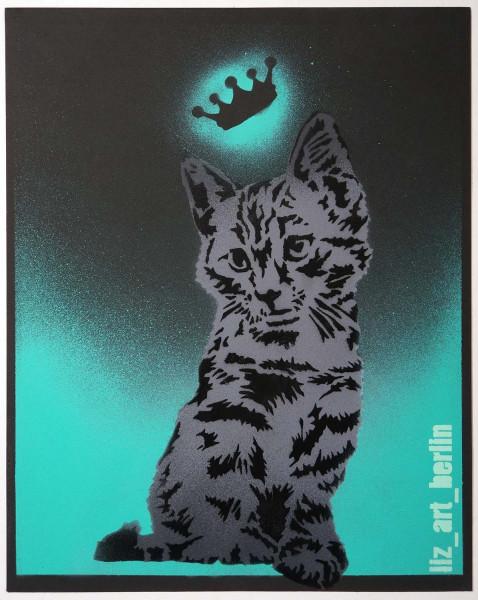 "Liz_Art_Berlin: ""Crown Cat"" - Stencil - SALZIG Berlin Streetart Gallery"