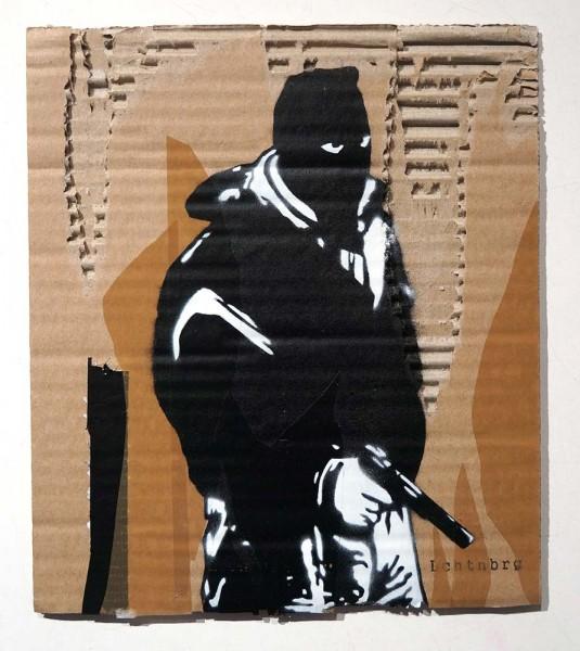 """Lchtn Brg: """"RAF I""""  - 2 layer Stencil on cardboard"""