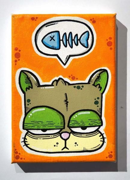 """Brainfart: """"Cat & Fish""""  - mixed media on Canvas - SALZIGBerlin"""