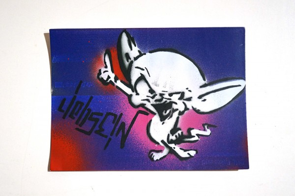 "LIEB SEIN: ""Comic"" Original Stencil on DHL Paket Sticker"