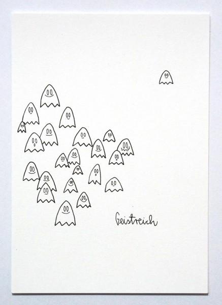 """Rabea Senftenberg: """"Geistreich"""" - Original Postcard - Marker and fun on paper postcard - SALZIG"""
