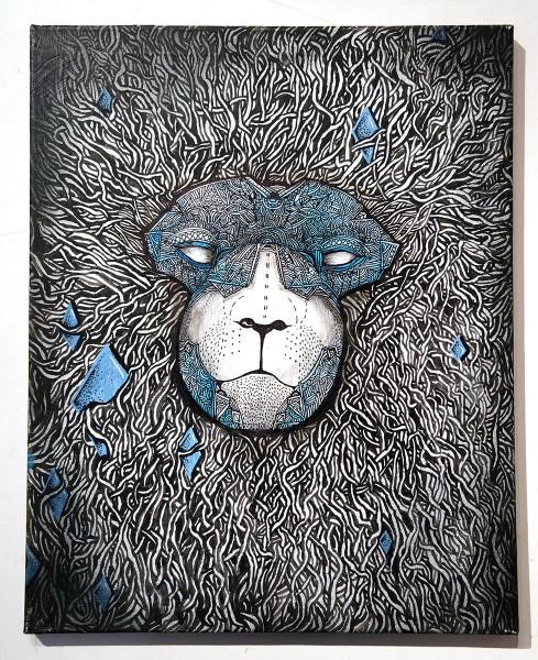 """Sam Crew: """"Bär 3"""" - mixed media on canvas - streetart berlin - salzig"""
