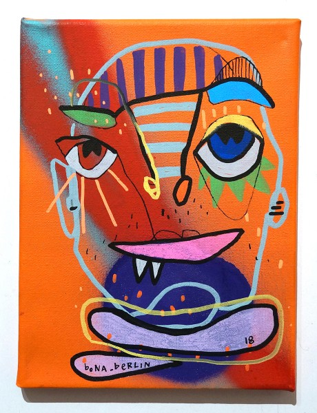 Bona Berlin: Face - Orange - mixed media on canvas