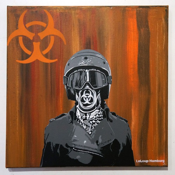 "Le Loup: ""Biohazard"" Stencil and mixed media"