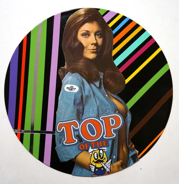 "Mesy: ""Top Of The"" Sticker collage on record - at SALZIG Berlin"