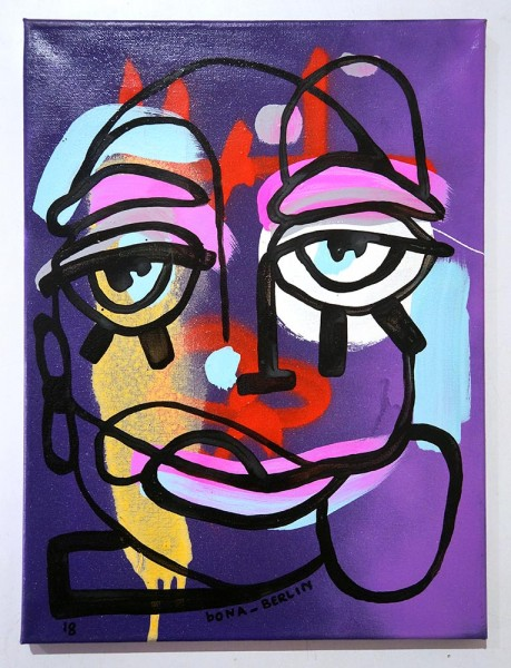 Bona Berlin: Face IV - mixed media on canvas - salzig berlin