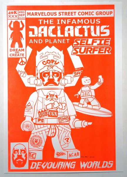 "Planet Selfie and Dacater: ""The Infamous Jaclactus And Planet Selfie Surfer"" - Risograph print at SALZIG Berlin"