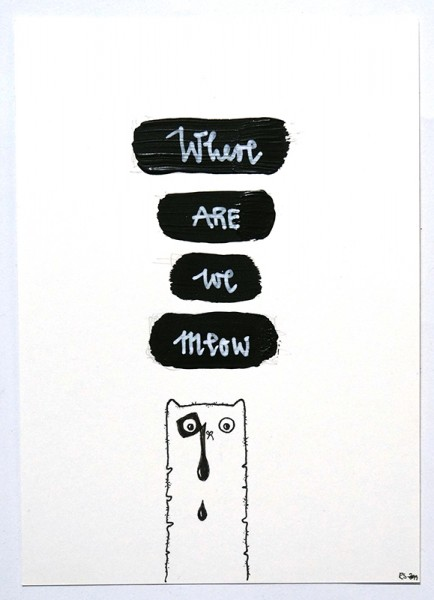 "Rabea Senftenberg: ""Where Are We Meow"" original postcard - Marker and fun on paper postcard - Drink Ink"