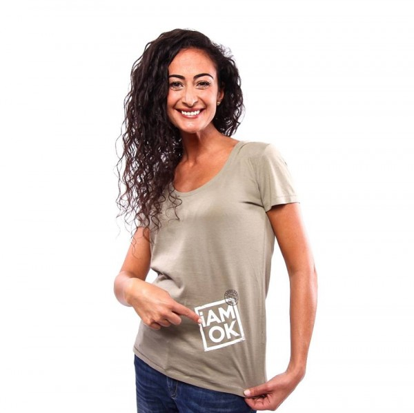 iAMOK: Poststempel - Khaki Light - lässiges Woman T-Shirt