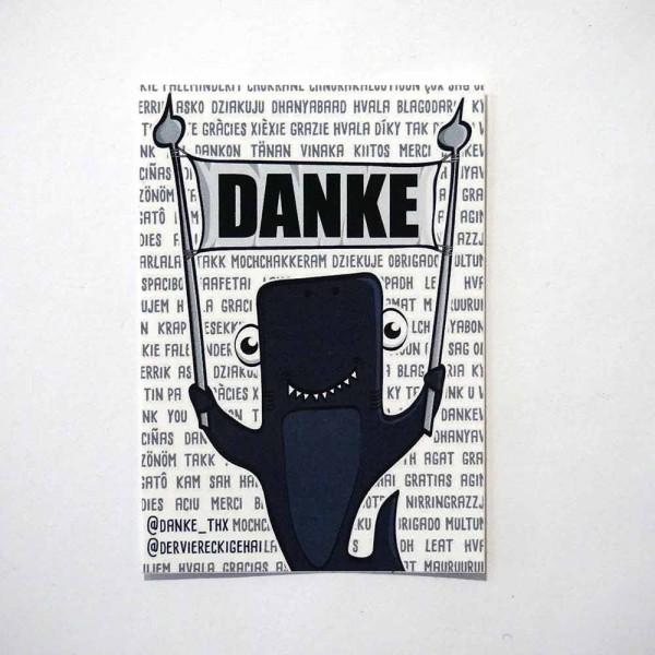 Der viereckige Hai - Danke - 7,2 x 5 cm  - Sticker