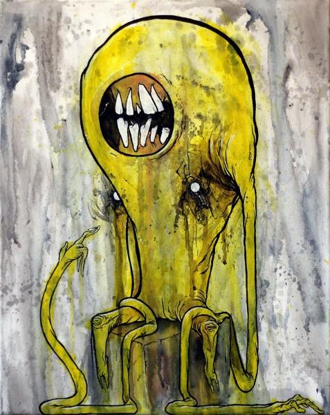 """Glönn: """"Gelbes Monster mit Fliege"""" - mixed media on canvas - berlin"""