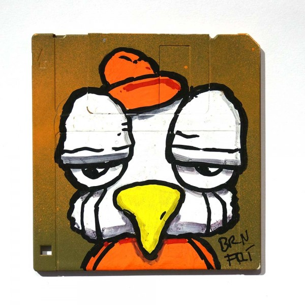 "Brainfart: ""Floppyfart Bird"" - mixed media on diskette - SALZIG Berlin"