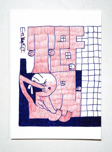 "Tefra90: ""Drawing 3"" Original Postcard - Red Blue Series"