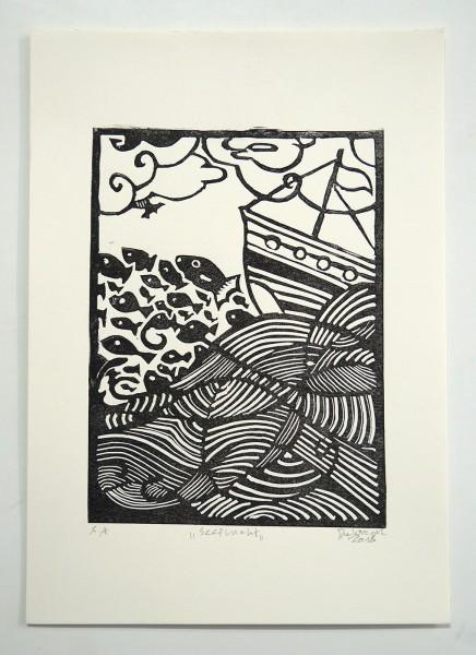 """Deelorean: """"Seeflucht"""" - Linoleum Print"""