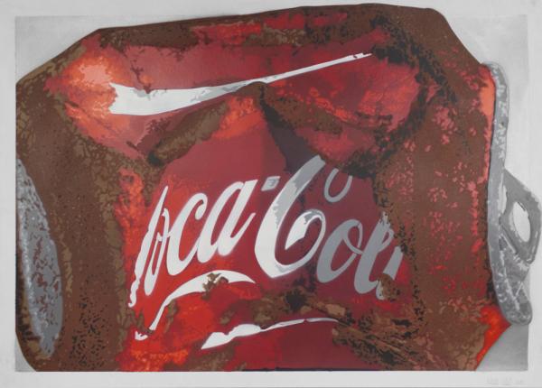 "Fatal: ""COKE silver"" - Stencil, 13 colors - 100x70 cm - Signiert"