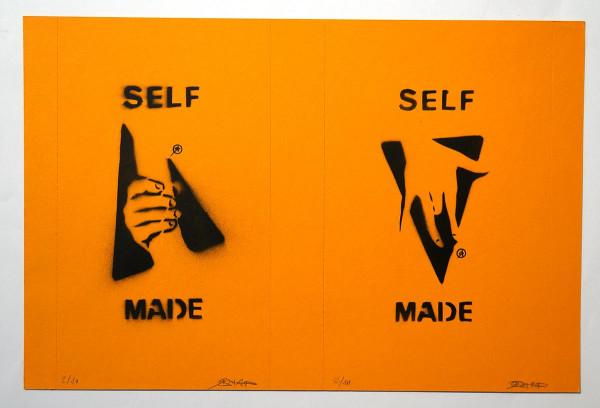 "Ostap: ""Selfmade - 2 in 1 - Orange"" - Handmade Stencil - SALZIG Berlin"