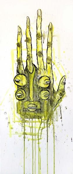 "Glönn: ""Hand"" - mixed media on canvas - 70 x 30 cm - salzigberlin"