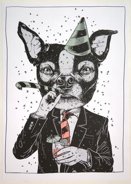 """YackFou: """"Party Animal"""" - Poster A2"""