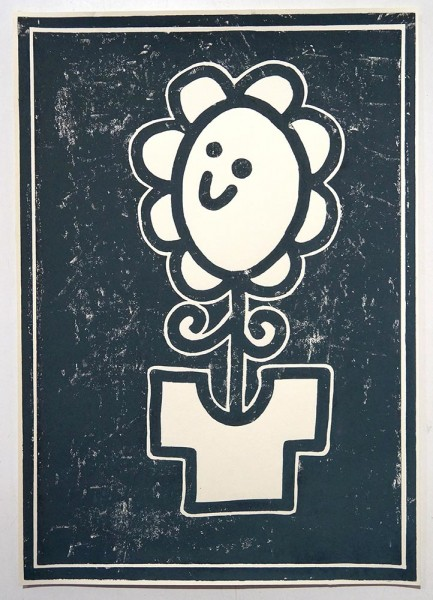 "Stefan Hoch: ""Blume mit Tshirt"" - 1 color linoprint on paper"